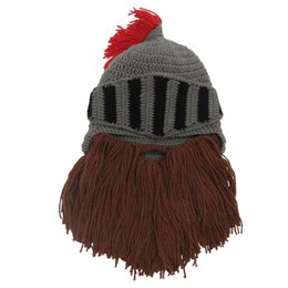 knights helmet NZ - Cosplay Knight Knit Helmet Men's Caps Winter Warm Beard Hats Funny Hat Hand wash only Do not wring Bearded Tassel Shape