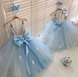 baby blue prom dress kids Canada - Baby Blue Girls Dresses For Birthday Party Dresses 2020 Silver Sequins Top Tutu Skirt 3D Floral Cheap Kids Prom Ball Gowns