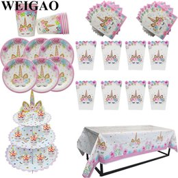 $enCountryForm.capitalKeyWord Australia - WEIGAO Unicorn Party Tableware Set Unicorn Cake Decor Napkin Cup Plate Hat Kids Happy Birthday Decoration Baby Shower Supplies