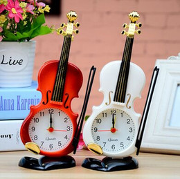 2 Colors Creative Instrument Table Clock Student Violin Gift Home Decor Fiddle Quartz Alarm Clock Desk Plastic Craft