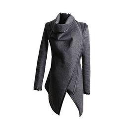 87bfb49020b8 2019 Irregular Medium-and Long-style Slim Wool Overcoat