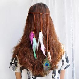 Vente en gros Bandeau à plumes indiennes - Bandes à cheveux colorées Boho Tassel Festival Hippie Paon Paon rétro Accessoires pour cheveux Coiffe pour femmes filles