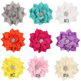 Flower Girl Rhinestone Hair Clips Australia - 13 Color Girls cloth Flower hairpins acrylic Rhinestones Solid colors 9cm flower hair clips With Soft Felt Backing