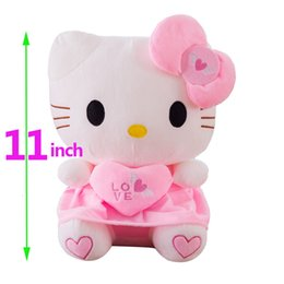 $enCountryForm.capitalKeyWord Australia - 11 inch Kawaii Cat hello kitty plush Doll stuffed animals toys cushion with heart For kids baby children party birthday gift SH190913