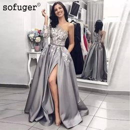 grey satin evening gown Australia - Sliver Grey Lace Applique Satin Prom Dresses Sexy High Slit Long Sashes Beads Formal Evening Gown 2019 One Shoulder