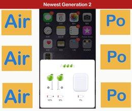 Venta al por mayor de La más nueva generación 2 auricular inalámbrico de auriculares Bluetooth de carga auriculares sensor inteligente Surround Sound Pop up para IOS PK AirPod 2