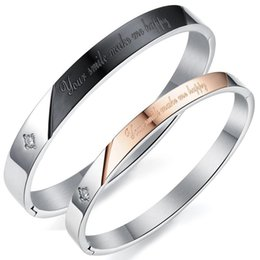 Chinese  Your smile make me happy Couple Bangle Titanium Steel Lover Anniversary Gift Lady Bangle Bracelets Jewelry manufacturers