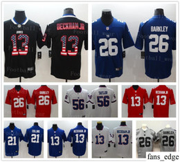 5c02cea41 New York Giants Jersey 13 Odell Beckham Jr 26 Saquon Barkley 10 Eli Manning  21 Landon Collins 56 Lawrence 87 Shepard Stitched Football