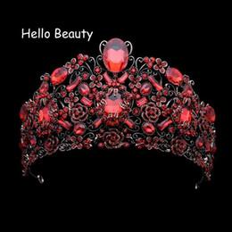 European Luxury Wedding Hair Accessories Vintage Large Queen Diadem Red  Rhinestone Baroque Crown Crystal Bridal Tiaras For Bride C18122501 271d72adb8fa