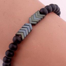 8 MM Matted Black Stone Perles Yoga Méditation Bracelet Hommes Flèche Bracelet Élastique Charme Bracelets Bracelet pour Wome en Solde