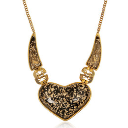 $enCountryForm.capitalKeyWord Australia - Europe and the United States style Fashion exaggerated necklace retro gem big heart shape necklace personalized metal necklace for sell