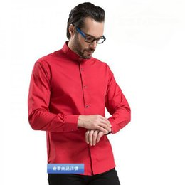Discount long sleeve collar work dress - Spring Men Long Sleeve Stand Collar Dress Formal Shirts Camisa,Single Breasted Solid Candy Color Business Work Shirts Ve