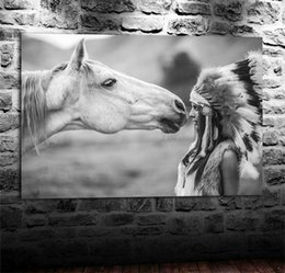 Indian Girls Paintings Australia - Horse and Indians Girl,Home Decor HD Printed Modern Art Painting on Canvas (Unframed Framed)