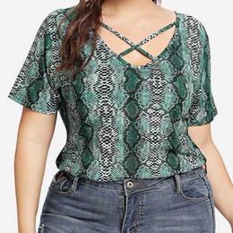 Discount plain shirt blouse - MUQGEW Female Blouse Fashion Womens Tops Casual Plus Size Blouse Plain Snake Print Shirt O-Neck Short Sleeve Tops roupa