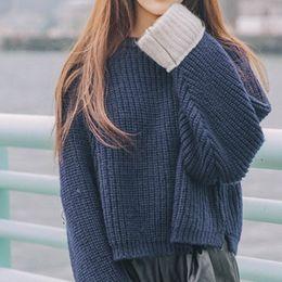 Discount block bat - Fashion O-neck Women's Sweater Korean Vintage Color Block Cuffs Sweater Loose Bat Sleeve Pullovers Woman Winter 201