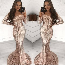 $enCountryForm.capitalKeyWord Australia - African Gold Sequined Bateau Long Sleeve Mermaid Prom Dresses 2019 Floor Length Strapless Evening Party Gown