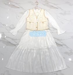 $enCountryForm.capitalKeyWord Australia - High end women girls Short skirt suit Long sleeve v-neck Lace-up flared sleeve long dress and Sleeveless tweed button vest tee tops coat