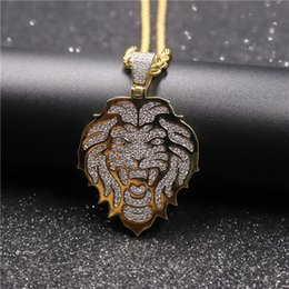$enCountryForm.capitalKeyWord Australia - Hip Hop Iced Out Cubic Zircon Gold Silver Color Plated Lion Head Pendant Necklace with Rope Chain