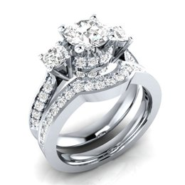 $enCountryForm.capitalKeyWord Australia - Women Fashion Natural White Sapphire 925 Sterling Silver Ring Set Wedding Bridal Jewelry Size 5 6 7 8 9 10 11 12