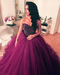 $enCountryForm.capitalKeyWord Australia - Amazing Purple Vestidos De Quinceanera dresses 2019 Sweetheart Tulle Ruched Crystal beaded Top Designer Ball Gown Cheap Prom Sweet 16 Dress