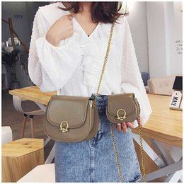 Discount small shoulder purses for girls - Women Saddle Bags New Small Purses Sling Bags For Kid Girls Solid Color Leather Handbag Chain Hasp Child Shoulder Crossb