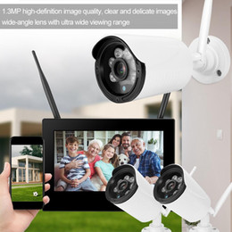 Discount dvr security system wireless cameras - DC 12V 1A 10in 1.3MP HD Wireless WIFI Baby Monitor 3 Cameras Smart DVR Home Security System
