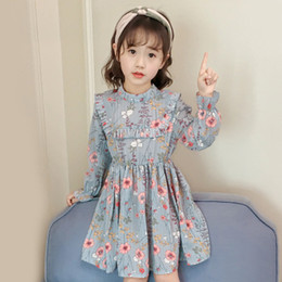 $enCountryForm.capitalKeyWord Australia - baby kids designer clothes girl princess Floral dress 2019 autumn Korean loose girl pleated half-high collar lotus leaf long-sleeved chiffon