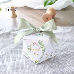 $enCountryForm.capitalKeyWord Australia - European Diamond Shape Green Forest Style Candy Boxes Wedding Favors Bomboniere Paper Thanks Gift Box Party Chocolate Box 50pcs T190709