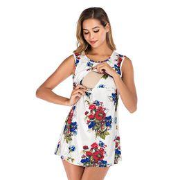 $enCountryForm.capitalKeyWord Australia - MUQGEW 2019 Maternity Nursing dress for pregnant women Fashion Print O Neck Sleeveless Mini breastfeeding dress hamile elbise