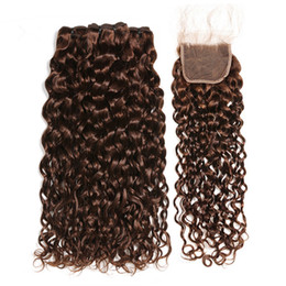 $enCountryForm.capitalKeyWord Australia - Chocolate Brown Brazilian Wet and Wavy Human Hair 3Bundles with Closure #4 Dark Brown Water Wave Virgin Hair Lace Closure 4x4 with Weaves