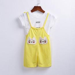 $enCountryForm.capitalKeyWord Australia - Summer Baby Girls Cotton Short Sleeve T-shirt Tops + Cartoon Cat Bow Overalls Pant Kids 2Pcs Suits Infant Clothing Sets