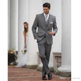 $enCountryForm.capitalKeyWord NZ - Grey Three Pieces Men's Wedding Tuxedos One Button Slim Fit Groom Wear Men's Business Clothing Tailcoat 2019