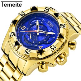 Discount champagne sports - luxury gold blue mens watch TEMEITE brand men wristwatch quartz stainless steel waterproof man watches Large dial men&#0