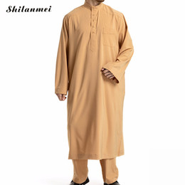 $enCountryForm.capitalKeyWord Australia - 2 Piece Set Arabic Muslim Top And Pant Abaya Islam Men Clothing Plus Size 3XL Middle East Pakistan Arab Musulman Shirt Trousers
