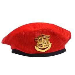 golf emblems Australia - Funny Knitted Military Hats For Kids Adult Star Emblem Sailor Dance Performance Cosplay Prom Berets Men Women Children Cap Hat