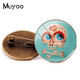 $enCountryForm.capitalKeyWord NZ - New Style Sugar Skull Brooch Funny Skull Brooches Glass Dome Pin Round Photo Painting Pins Silver Bronze Jewelry