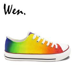 a41a488e3c9 Wen Original Design Custom Gradual Change Colors Casual Hand Painted Shoes  Low Top Canvas Sneakers for Man Woman Unique Presents  363444