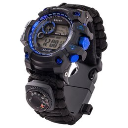 Survive Outdoor Sport Watches Men Emergency Night Grande quadrante Uomo Digital Orologi Compass Whistles Sports Orologio da polso Mens 2019