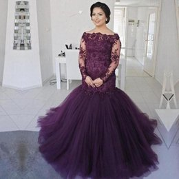 $enCountryForm.capitalKeyWord Australia - 2019 Mermaid Mother Of The Bride Dresses Lace Sheer Long Sleeves Plus Size Mother 's Dress Tulle Sweep Train Prom Evening Gowns