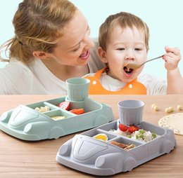 infant cup feeding Australia - Car Shape Baby Dishes Infant training dishes Baby feeding Car shape Bowl Cup Plates Children Tableware including cup LJJK1332