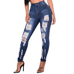 b88c44494c9d4e Beiläufige Frauen zerrissene Jeans weibliche hohe Taille Stretch schlanke  Damen Löcher reizvolle blaue Bleistifthosen dünne Pantalones Vaqueros Mujer  20