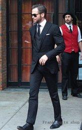 Beige Slim Suits For Men Australia - Mens Suits With Pants Black Stripe Suits Slim Fit Tuxedo Wedding For Men Custom Formal Business 3 Piece Traje Hombre