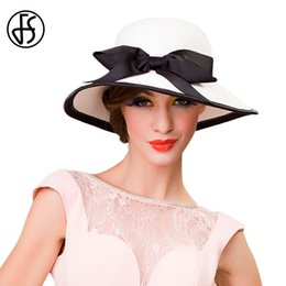 white floppy hats NZ - FS Black White Bowknot Ladies Summer Hats Wide Brim Foldable Sun Hat Woman Beach Cap Casual Outdoor Floppy Straw Femme Fashion