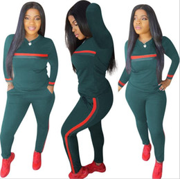 Wholesale Stripe Tracksuits Set Piece Set Woman Tops Sweatshirt Long Pants Pockets Club Suits Overalls Outfit