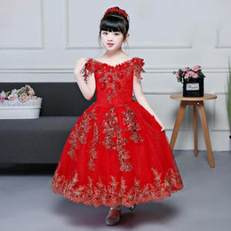 $enCountryForm.capitalKeyWord Australia - 2019 New Beading Appliques Embroidery Ball Gown V-Neck Strapless Red Long Flower Girl Dresses First Communion Dresses For Girls