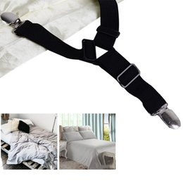 $enCountryForm.capitalKeyWord Australia - Adjustable 4pcs set Triangle Bed Sheet Holder Black White Elastic Strap Fixer Sheet Smoother Fastener Gripper Clip