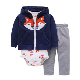 $enCountryForm.capitalKeyWord Canada - 2019 Children Girls Hoodies Coat Fox Jacket 3pcs One set High Quality Cotton Boys Rompers Toddler Infant Newborn Jumpsuits Long Pants Suits