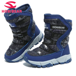 wide calf shoes NZ - Hobibear Boot For Children's Winter Kids Waterproof Snow Boots Mid-calf Rubber Anti-slippery Boys Warm Plus Cotton Shoes H7557 Y190525