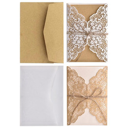 kraft wedding invitations 2019 - 10pcs set Hollow Lace Wedding Party Invitation Cards With Kraft Paper Inner Sheet Envelopes Rope discount kraft wedding