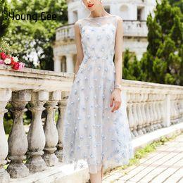 Empire Lace Applique Dress Australia - Young Gee Lace Floral Embroidery Pearls Beading Appliques Party Vestido De Festa Sleeveless Midi Summer Dresses Q190522